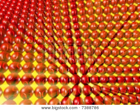 Array Of Red Spheres With Binary Numbers And Yellow Light Rays.