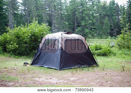 Tent Set Up In The Middle Of Wilderness