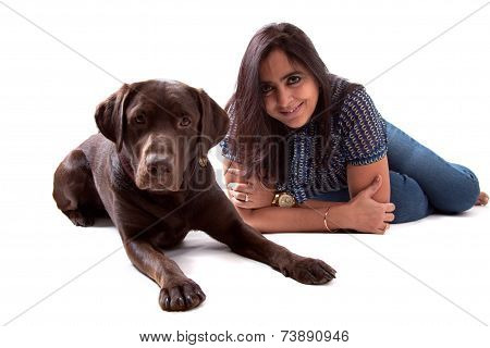 Chocolate Labrador Dog With His Owner