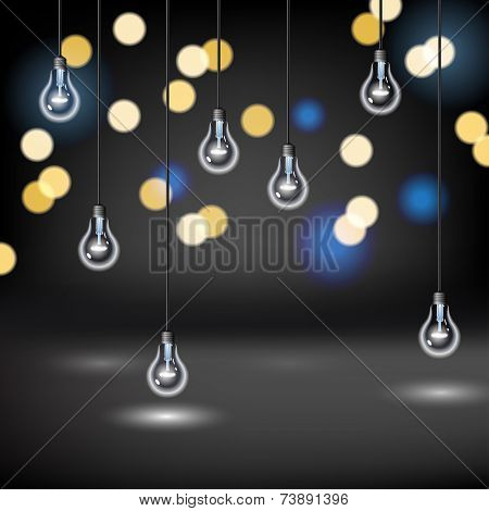 Light Bulb background with blurred lights