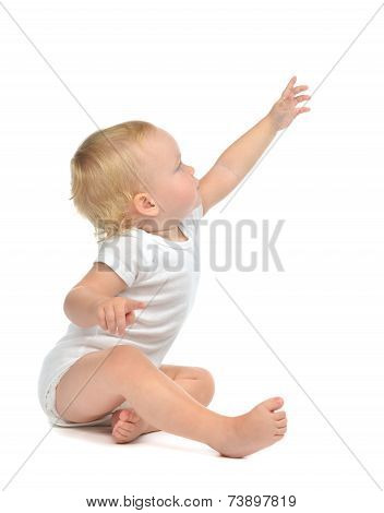 Infant Child Baby Toddler Sitting Raise Hand Up Pointing Finger