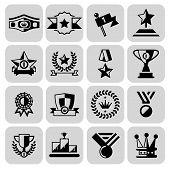 Award icons black set of laurel wreath winner cup isolated vector illustration poster