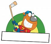 Sporty Ice Hockey Bear Swinging A Stick Over A Blank Box poster