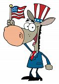 Patriotic Donkey Wearing A Hat And Waving An American Flag poster