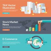Concepts for finance, taxes, bookkeeping, accounting, monetary transaction taxes, stock market news, strategy and planning, company business result presentation, marketing, e-commerce, market research, online shopping, business. Can be used for web banner poster