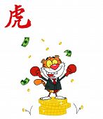 Victorious Business Tiger On Coins, With A Year Of The Tiger Chinese Symbol poster