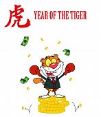 Victorious Business Tiger On Coins, With A Year Of The Tiger Chinese Symbol And Text poster