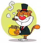 Happy Tiger Carrying A Pot Of Gold And Smoking A Cigar,background poster