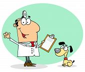 Caucasian Cartoon Canine Veterinarian Man Animal Dog poster