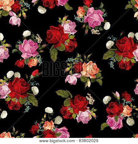Abstract Seamless Floral Pattern With White, Pink, Red And Orange Roses On Black Background