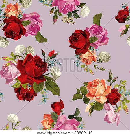 Abstract Seamless Floral Pattern With White, Pink, Red And Orange Roses