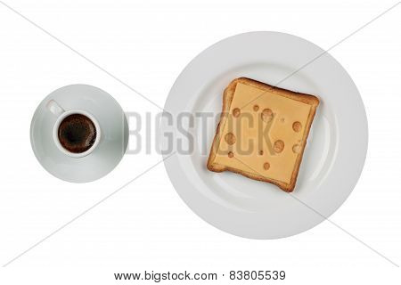 Cheese Sandwich And A Cup Of Black Coffee