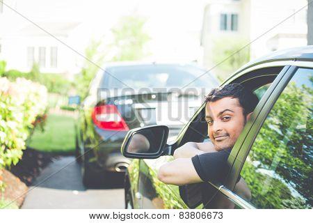 Man Chilling On Car