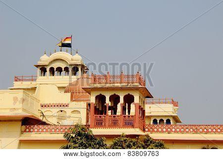 Ornate balconies on top of palace housing Maharaj Sawai Mansingh II Museum City Palace Jaipur Rajasthan India Asia poster