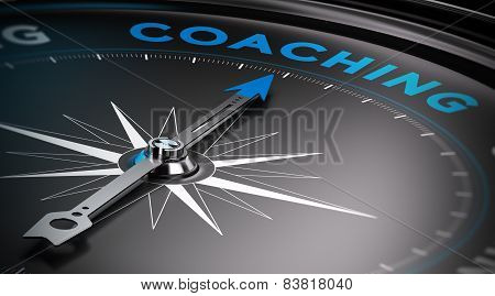 Attain personal goals personal trainer concept. Conceptual Compass with needle pointing to the word coaching. poster