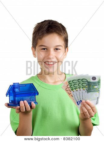 Happy Boy With Money And House In His Hand