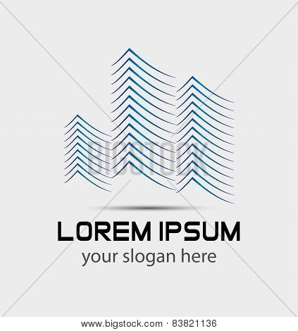 Vector abstract building construction logo for company isolated