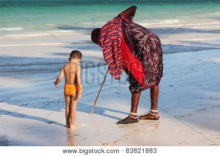 Massai and a boy