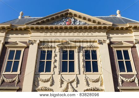 Facade Famous Dutch Museum Mauritshuis In The Hague, The Netherlands