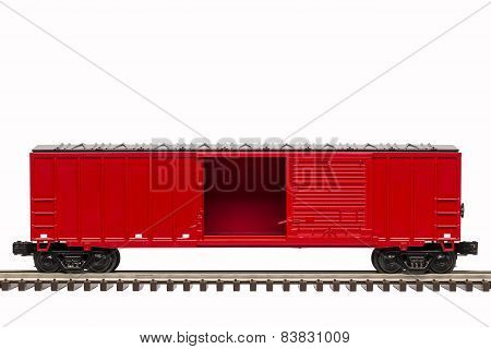 Red Boxcar Open Door