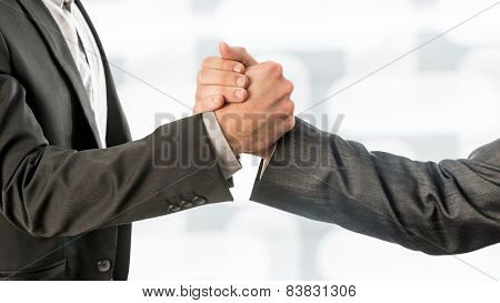 Conceptual Business Partners Gripping Their Hands