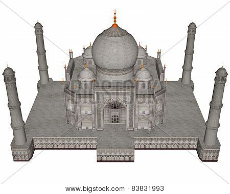 Taj Mahal mausoleum isolated in white background - 3D render poster