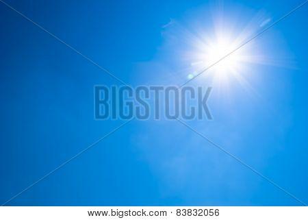 Bright Blue Sky And Sun