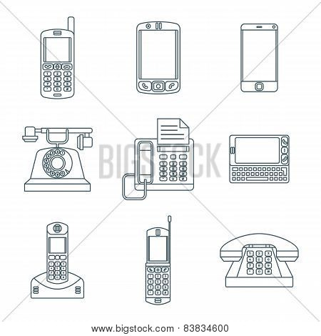 dark outline various phone devices icons set