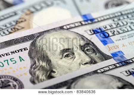 Benjamin Franklin portrait from 100 dollars banknote poster