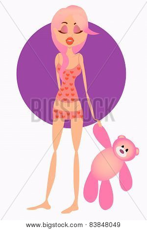 Girl in pajamas holding a pink bear