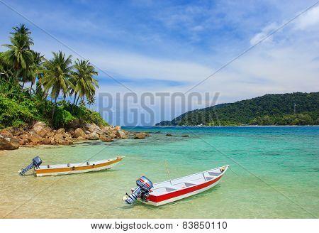 Speedboats on the beach