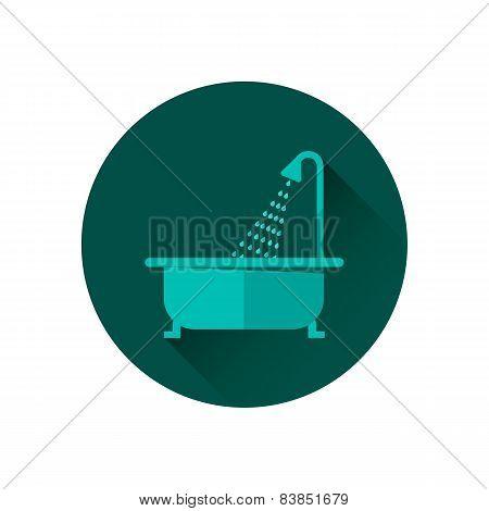 Bathtub and shower vector illustration