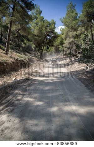 Off Roading On Road Through Dense Foliage On Mediteranean Island Ibiza