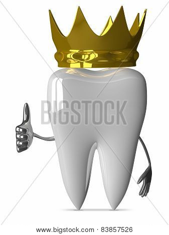 Tooth With Crown, Thumb Up