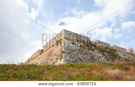 Greek Flag at the Venetian Fortezza or Citadel in the city of Rethymno on the island of Crete Greece created in 1573. poster