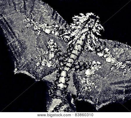 Impressionistic Oriental Dragon B&W