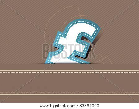 Pound Money Icon Design On Retro Background