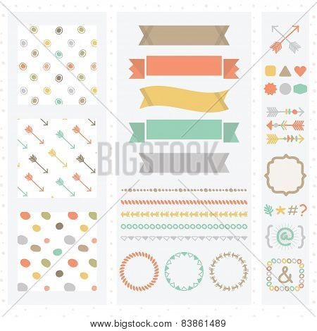 Cute light color design elements set