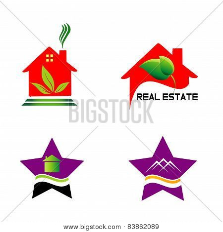 Set isolated house logo real estate sign