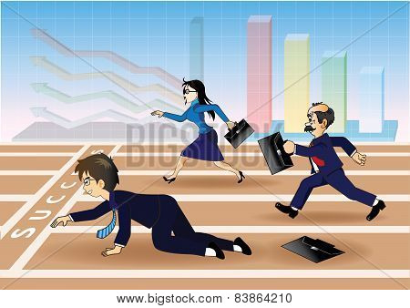 Businessman falling down before the success line