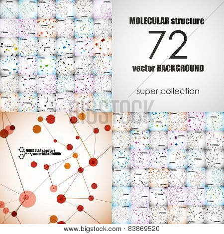 Set of beautiful molecular structure. Abstract background poster