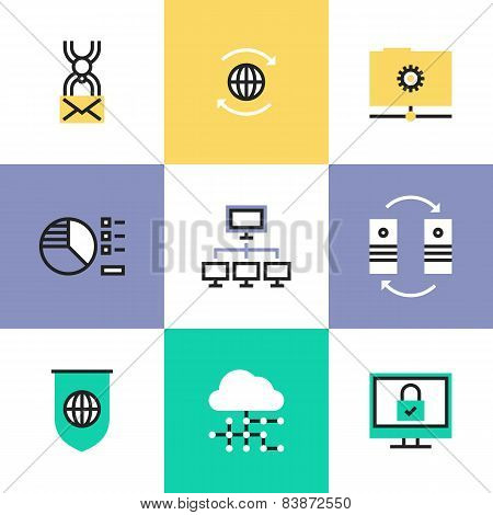 Flat line icons of cloud computing network connection big data center transfer internet security and virus protection. Infographic icons set logo abstract design pictogram vector concept. poster