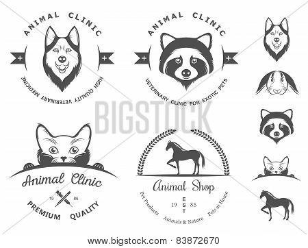 Set Of Vintage Badges For Vet Clinic