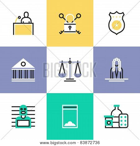 Crime And Justice Pictogram Icons Set