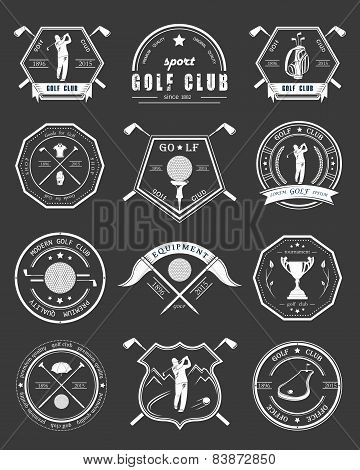 Vector Set Of Badges And Icons Golf Clubs