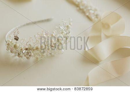 composition of wedding accessories bride