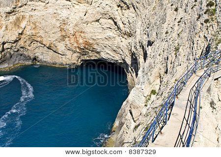 Sea cave at Lefkada island, Greece