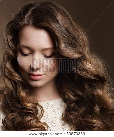 Young Woman With Brown Hair In Reverie