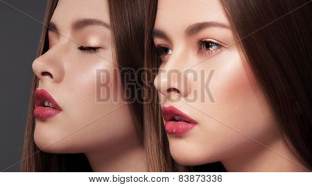 Glamor. Faces Of Two Young Gorgeous Sensual Women