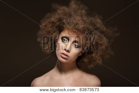 Stylization. Young Brunette With Curly Brown Hairs